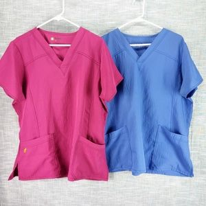 Wonderwink Sporty V Neck Scrub Top Lot XL